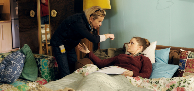 Tammy Riley-Smith directing Louise Brealey on the set of Delicious (Used with permission.)