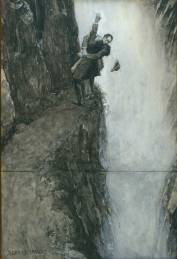 Professor Moriarty and Sherlock Holmes, Reichenbach Falls. Illustration by Sidney Paget