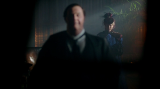 "Sherlock: ""The Abominable Bride"" Mark Gatiss (Mycroft Holmes) and Amanda Abbington (Mary Watson)"