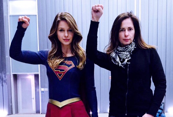 Lexi Alexander and Melissa Benoist on the set of Supergirl